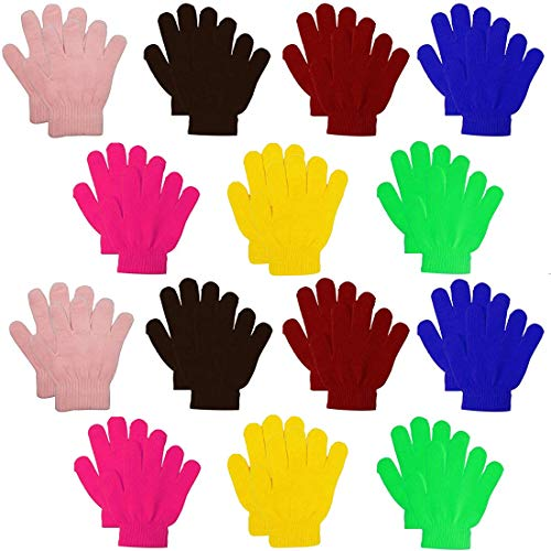 Kids Warm Magic Gloves,14 Pairs Boys Girls Winter Stretchy Knit Gloves (Mixed 7 Color, 4-10 Years)