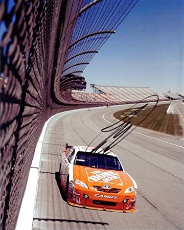 AUTOGRAPHED 2010 Joey Logano #20 The Home Depot Racing In Car Helmet 8X10  Signed