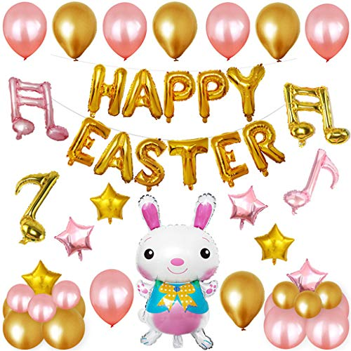 Iusun Happy Easter Rabbit Balloons Pendant Decorations Easter Fest Home Garden Yard Wedding Festival Holiday Christmas Halloween Party Valentine's Day New Year Ornaments Craft Gifts (Gold) -