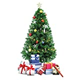 Dporticus 5Ft Prelit Artificial Christmas Tree Premium Spruce Hinged Artificial Led Tree,Metal Stand and LED Lights