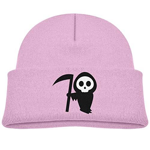 Kids Knitted Beanies Hat Halloween Pumpkin Stencils Witch Winter Hat Knitted Skull Cap for Boys Girls Pink -