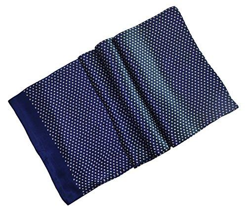 Ellettee, 63'' x 11'' Man's 100 Pure silk scarf wrap Accessory gift (BlueWhite Polkadot) by Ellettee (Image #2)