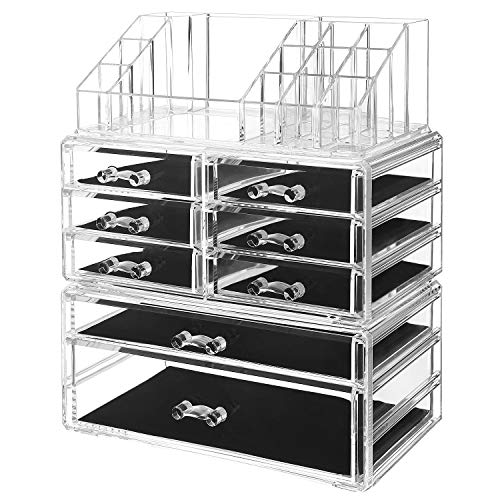 SONGMICS Acrylic Makeup Organizer 3 Pieces Set Cosmetic Storage Jewelry Display Case with 8 Drawers 16 Top Compartments for Brushes Pallets Powder Foundations Clear ()