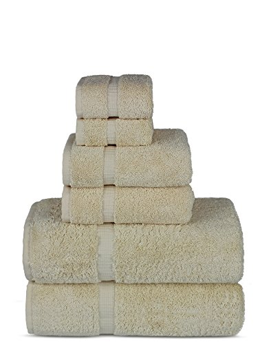 Luxury Spa and Hotel Quality Premium Turkish 6-Piece Towel Set (Beige, 2 x Bath Towels, 2 x Hand Towels, 2 x Washcloths)