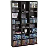 Pemberly Row 8 Shelf Triple Media Storage Rack in Espresso