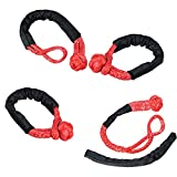 """Astra Depot Set of 4PCS RED 1/2"""" Soft Shackle Rope Synthetic with Protective Sleeve (38,000LBs Max Breaking, WLL 15,000 LBs - 7.5 Tons)"""