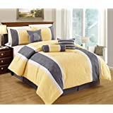 Leaf Applique Quilted Comforter Set Stripe Bed In A Bag Yellow, Grey and White King Size Bedding