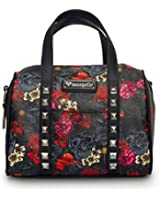 Women's Loungefly Grey Skull With Roses Duffle Bag Black