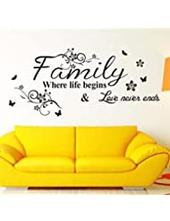 Lowprofile Hot! Art Family Beautiful Flower Wall Stickers Home Words Decor Wall Sticker