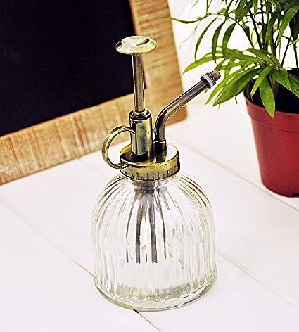 Botella con pulverizador de estilo Vintage de cristal transparente para agua, para plantas, diseñ