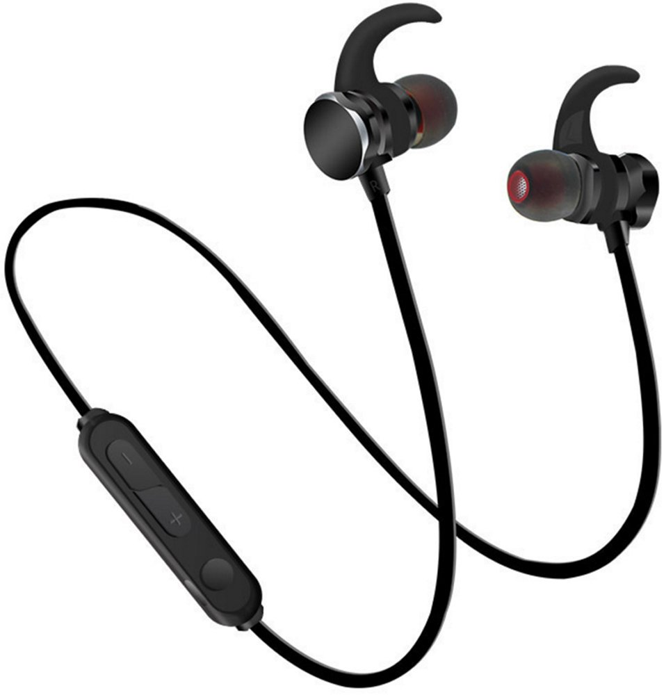 Teetox Bluetooth Earphones, Wireless Earbuds for Sports Workout in-Ear Sweatproof Headphones with Mic, Magnetic Design 6 Hours Playtime Black