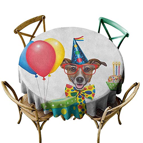 100% Polyester round tablecloth 50 inch Kids Birthday,Waiter Server Party Dog with Hat Cone Cupcake Balloons Celebration Boxes, Multicolor Printed Indoor Outdoor Camping Picnic Circle Table Cloth