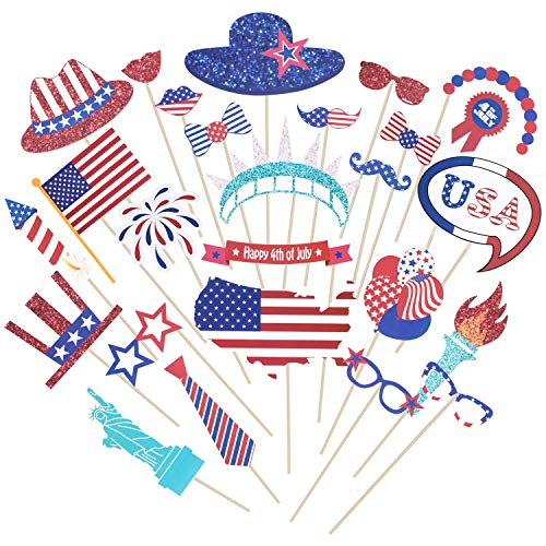 4th of July Photo Booth Props Patriotic Party Supplies American Independence Day Party Selfie Accessories Decorations, Pack of 26