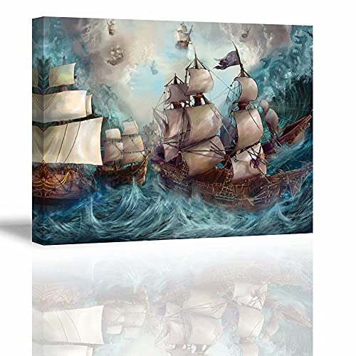 Beach Canvas Wall Art for Living Room, PIY Blue Sea Ride The Wind Picture Prints Decor (Waterproof, Ready to Hang, 30x40)