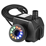 LEDGLE 10W Compact Water Pump Submersible Fountain Pump Mini Water Pumps with 70.8'' Power Cord, 500L/H, 5 Nozzles, RGB Lights, Black