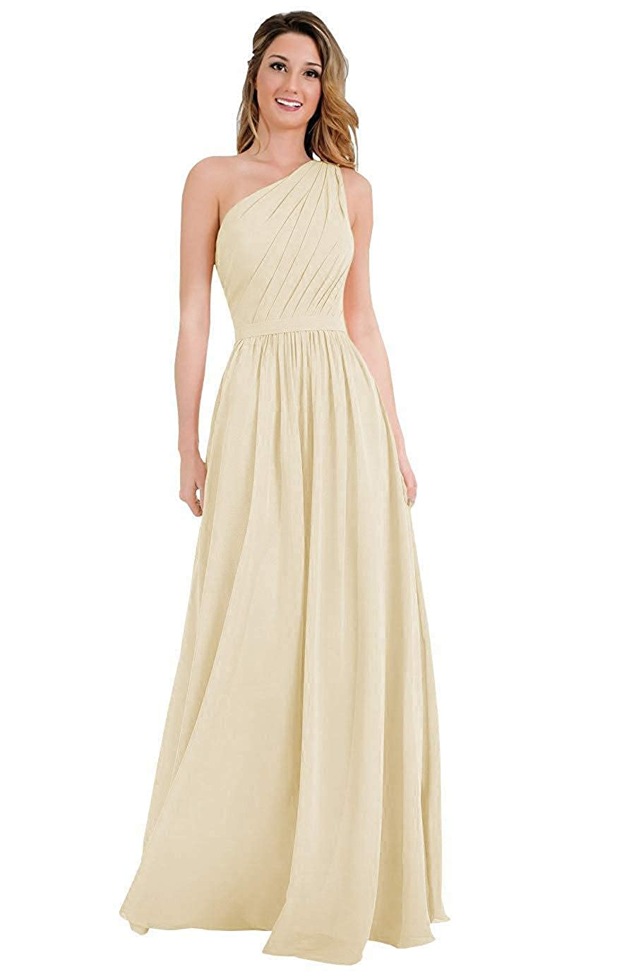 Staypretty One Shoulder Bridesmaid Dresses Chiffon Long A-line Womens Evening Formal Gown