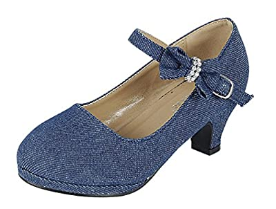 Forever Little Girl Kids Mid Heel Mary Jane Sandal PU Leather Dress Pumps Dancing Shoes (9 M US Toddler, Blue Denim)