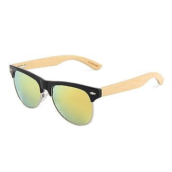 Ju-sheng Gafas de Sol de bambú polarizadas Semi-sin Montura Decorativas para Hombres
