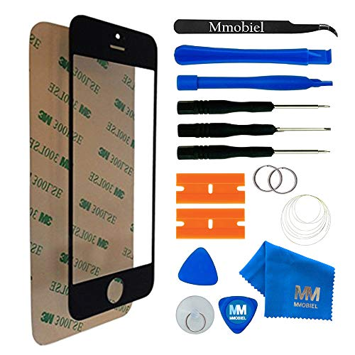 (MMOBIEL Front Glass replacement foriPhone 5 5C 5S SE (Black) Display Touchscreen incl Tool Kit)
