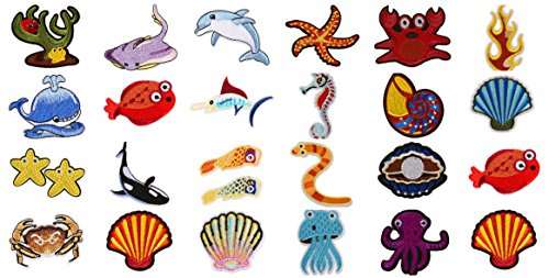 Assorted 27pcs Marine Creatures Iron on Patches Shark Whale Dolphin Clams Shell Crabs Seahorses Starfish Manta Ray Octopus Embroidered Patches Appliques Decorative Repair Patches DIY Sew on Motif