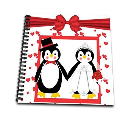 3dRose db_155256_1 Red Hearts Penguin Bride & Groom Wedding Couple Drawing Book, 8 by 8