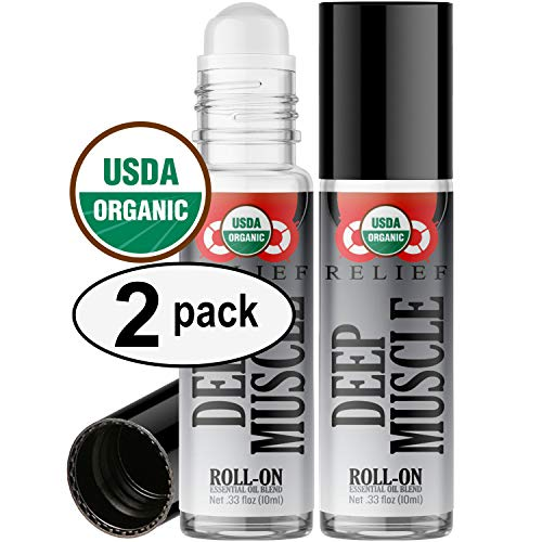 Organic Deep Muscle Relief Blend Roll On Essential Oil Rollerball (2 Pack - USDA Certified Organic) Pre-diluted with Glass Roller Ball for Aromatherapy, Kids, Adults Topical Skin Application - 10ml