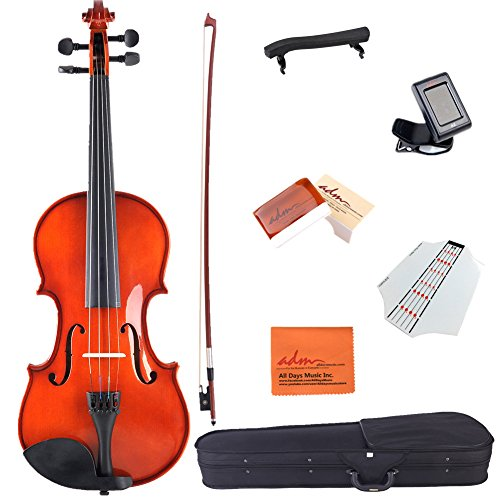 ADM Acoustic Violin 3/4 Size Handcrafted Solid Wood Student Starter Kit, Red Brown by ADM