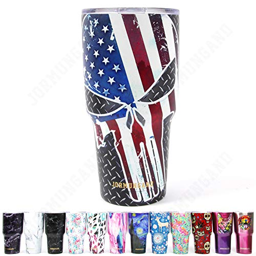 Jormungand Tumbler 30oz Stainless Steel Vacuum Insulated Travel Mug with Straw Friendly Lid Double Wall Coffee Cup Skull Flag ()