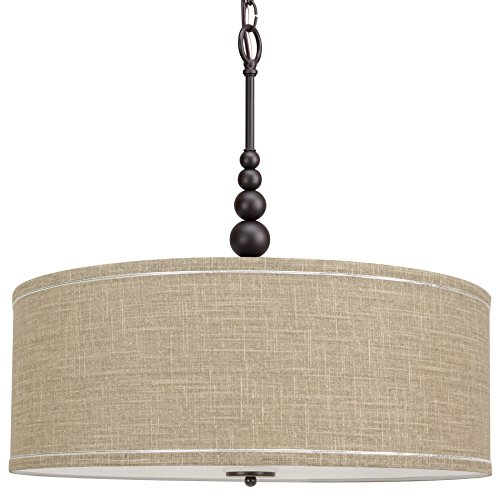 Kira Home Adelade 22 Modern 3-Light Drum Pendant Chandelier, Sand Fabric Shade, Tempered Glass Diffuser, Adjustable Height, Oil-Rubbed Bronze Finish