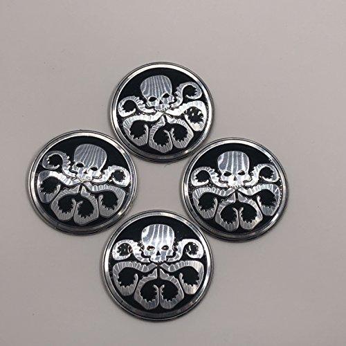 - AOWIFT 4Pcs BLACK 56mm HYDRA Skull Octopus Style Car Aluminium Alloy Body Emblem Badge Sticker