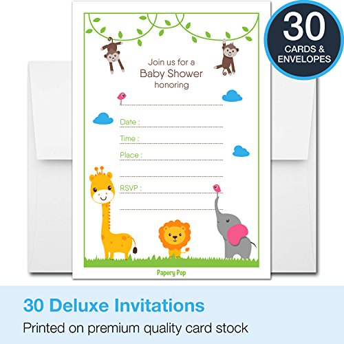 30-Baby-Shower-Invitations-for-Boys-or-Girls-with-Envelopes-Gender-Neutral-Fits-Perfectly-with-Safari-Jungle-Zoo-Animals-Baby-Shower-Decorations-and-Supplies