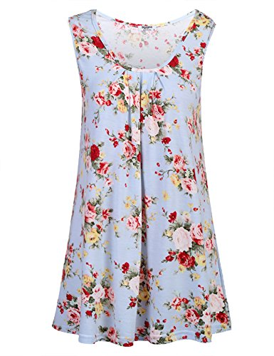 Essential Scoop Neck Short - Zeagoo Women's Sleeveless Scoop Neck Flowy Loose Fit Floral Tunic Tank Top, Pat6, Large