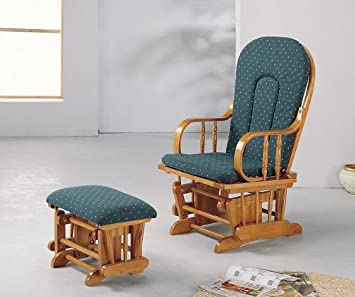 Bon Amazon.com: Country Oak Finish Wood Glider Rocker Rocking Chair W/Ottoman:  Kitchen U0026 Dining