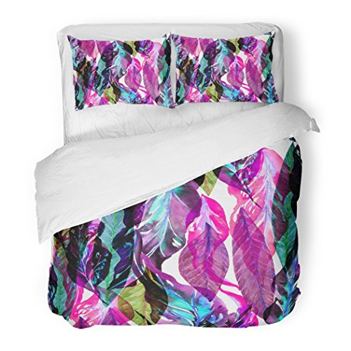 SanChic Duvet Cover Set Leaves Pattern Vibrant Color Red Green Leaf Tropical Artistic Collage for Floral with Colorful Effect Decorative Bedding Set with 2 Pillow Shams Full/Queen Size by SanChic