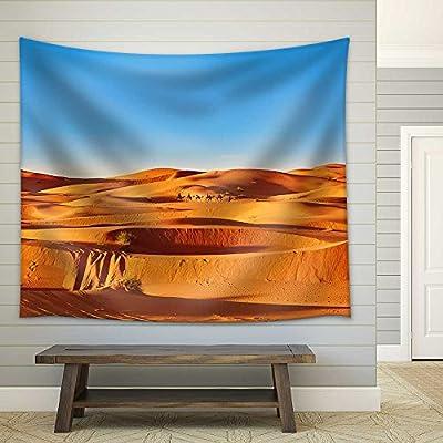That You Will Love, Pretty Print, Camel Caravan Going Through The Sand Dunes in The Sahara Desert Merzouga Morocco Fabric Wall