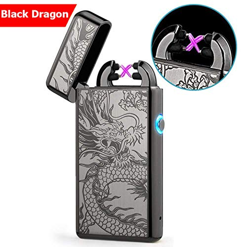 Windproof Lighter X Dual Arc Plasma Lighter Flameless Cigarette Lighter-Oriental Dragon Lighters-Windproof arc-Rechargeable-no (Refill Disposable Lighters)