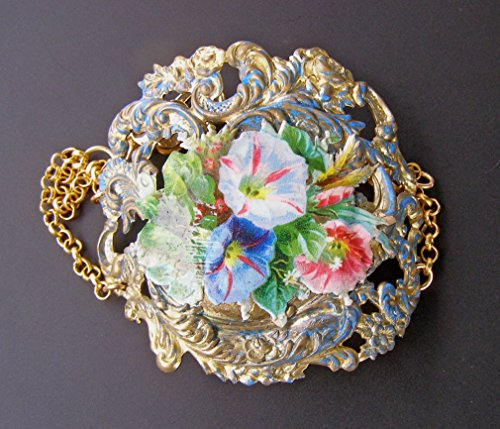 Glory Media (Big Bold Chunky Vintage Victorian Morning Glory Flower Bracelet Mixed Media Jewelry)