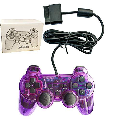 Saloke Wired Gaming Console for Ps2 Double Shock (Clear Purple)