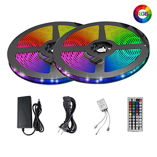 LED Strip Lights Kit ATTUOSUN 32.8ft/10M 300Leds SMD5050 RGB Waterproof LED Rope Light with Sponge Adhesive, 44Key Dual Head Dual Panel IR Remote Controller, DC12V Power Supply for Indoor and Outdoor (Dual Head Flat Panel)