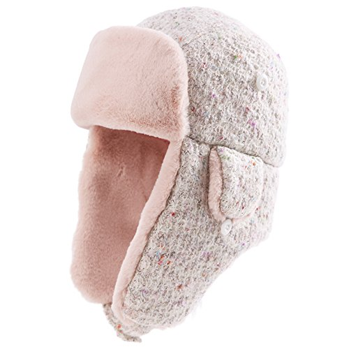 Ladies Trapper Hat Faux Fur Aviator Hat with Ear Flaps Russian Winter Cold Weather Hat Women Fleece Lined SIGGI Pink Medium (Lined Aviator)