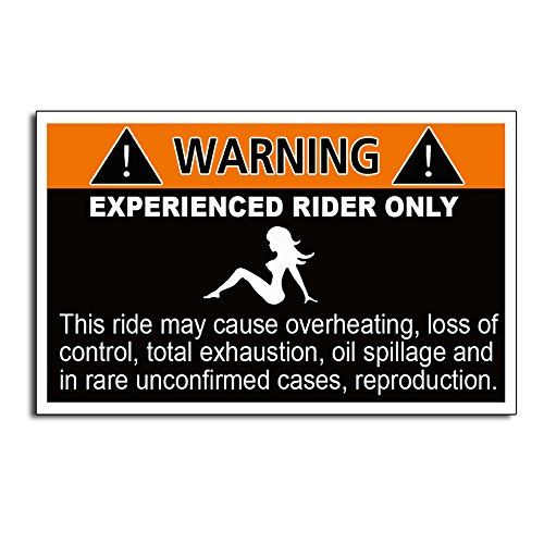 Funny Caution Joke Warning Experienced Rider Decal Sticker ()