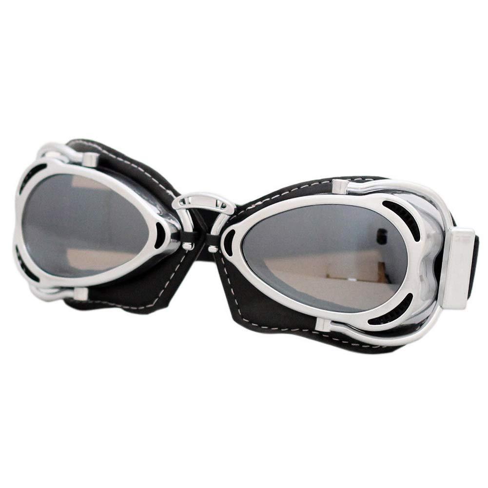 FXXUK Lunettes de Moto Vintage Lunettes de Course de Motocross pour Adulte pour Harley Style aviateur Mat Noir lentilles anticrash,10