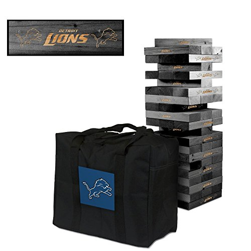 NFL Detroit Lions NFL 858049Detroit Lions NFL Onyx Stained Giant Wooden Tumble Tower Game, Multicolor, One Size by Victory Tailgate