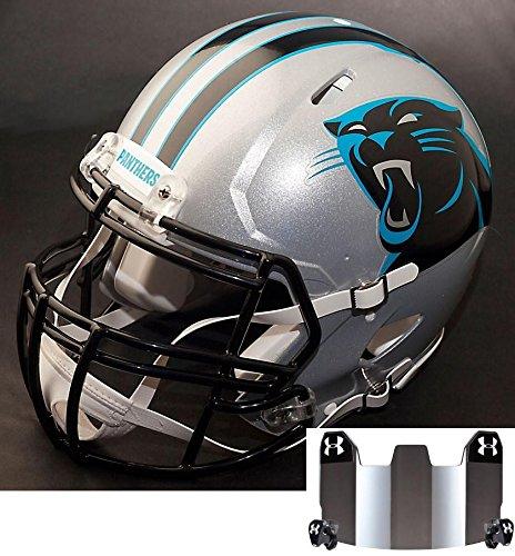 Replica Carolina Helmet Panthers Riddell (Riddell Speed CAROLINA PANTHERS NFL REPLICA Football Helmet with S2BDCSP Football Helmet Facemask/Faceguard and MIRRORED Eye Shield/Visor)