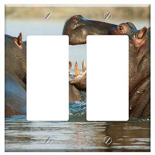 Switch Plate Double Rocker/GFCI - River Horse Hippopotamus Hippo Animal Namibia