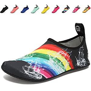 CIOR Lightweight Aqua Socks Quick-Dry Water Shoes Mutifunctional Barefoot For Beach Pool Surf Yoga Exercise SX-Rainbow-38/39