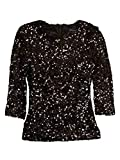 French Connection Women's 'Cosmic Sparkle' Sequined Top (0, Black)