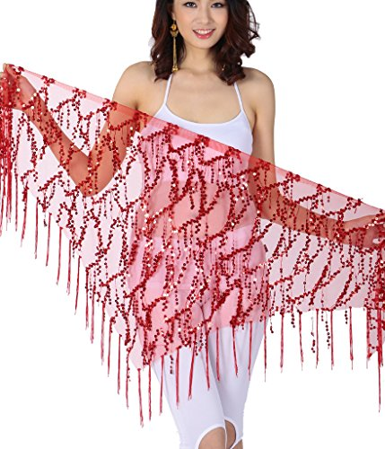 ZLTdream Belly Dance Sequin Triangle Hip Scarf Red