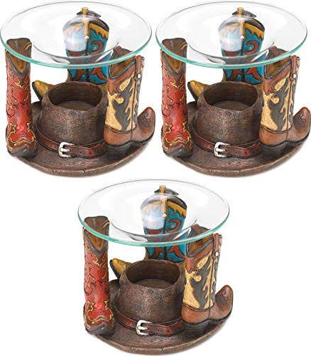 (3 Western Country Cowboy Boot Wax Tart Warmer Oil Diffuser Candle Holder Burner Decorative Centerpieces for Living Dinning Room Table Decoration, Wedding Gifts)