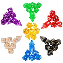 (49pcs) Polyhedral 7-die Gaming Dice (7x7)- Complete Dice Sets in 7 Colors - Great for Tabletop, Role Playing Dungeons and Dragons DND MTG RPG - with 1 Microfiber Cleaning Wipe